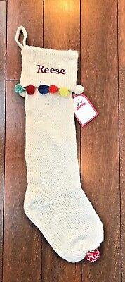 "POTTERY BARN KIDS Merry & Bright KNIT STOCKING Ivory & Pom Poms MONO ""Reese"" NWT"
