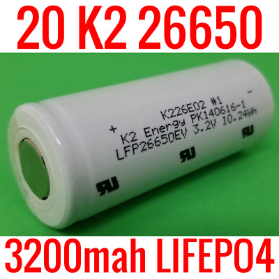 20 K2 Lifepo4 26650 Cells 3200Mah Lfp26650Ev Batteries Ebike Powerwall Eskate