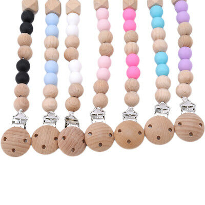 Baby Cartoon Pacifier Chain Wooden Colored Anti-lost Pacifier Clip Chain ST