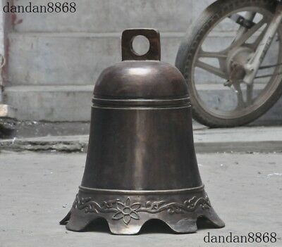 """20""""Old Chinese Temple Buddhism Bronze Auspicious Flower Prayer Bell chung Statue"""