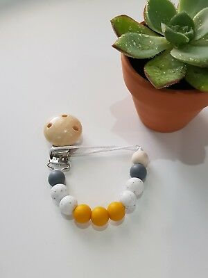 Silicone beaded dummy clip pacifier chain soother holder. Mustard grey white