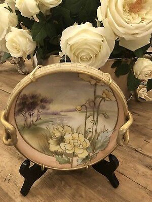 Nippon Vintage Moriage Hand Painted Floral Decorative Bowl w/gold Hand Painted