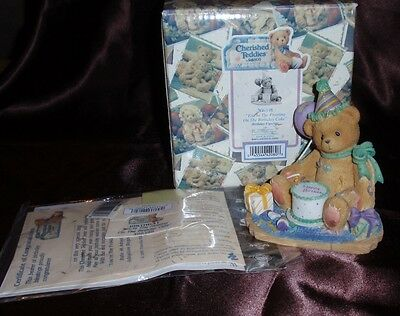 """1997 Cherished Teddies Birthday Figurine """"You're The Frosting On The Cake"""""""