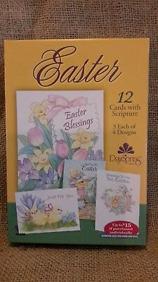 DaySpring Easter Boxed Greeting Cards W Embossed Envelopes Flowers 12 Count NIB