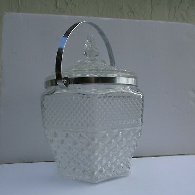 """Ice Bucket with Lid and Chrome Handle 11"""" Tall Heavy Vintage Clear Pressed Glass"""