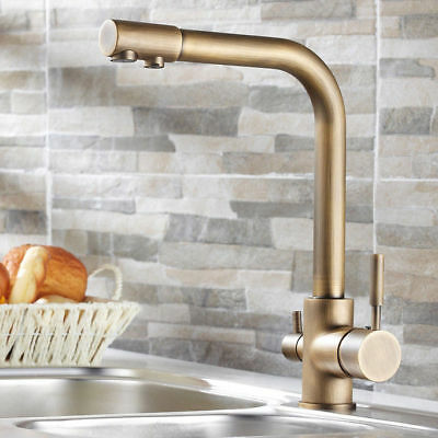 Antique Brass Kitchen Sink Faucet with Water Filtering Spout Classic Style Tap