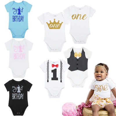 Infant Cotton Romper Baby Boys 1st First Birthday Jumpsuit Bodysuit Party Outfit