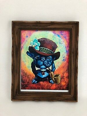 Framed Print Small Dog with Top Hat and Pipe Boston Terrier French Bulldog