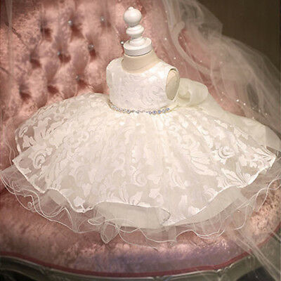 Baby Girl Dress Bow Birthday Wedding Party Baptism Christening Lace Gown Dresses