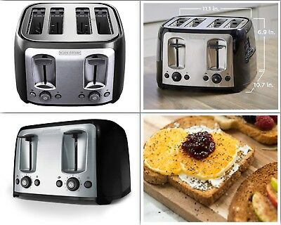 4 Slice Toaster Extra Wide Slots  Stainless Steel Bagel kitchen Crumb Trays NEW