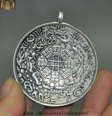 Old Chinese Buddhism Temple Tibetan Silver 12 Zodiac Animal Amulet Pendant