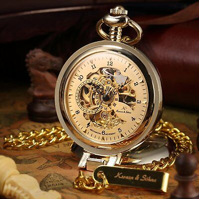 KS Men's Half Hunter Luxury Black Gold Hand-winding Mechanical Pocket Watch+Box