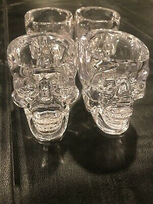 Genuine Crystal Head Vodka Acrylic Skull Shot Glasses 4 PACK