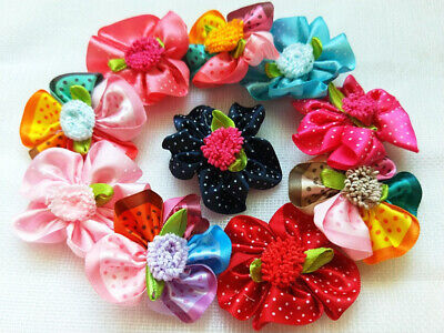 30PCS puppy Hair Ribbon Bows rubber band or clip Pet Dog Accessories Grooming