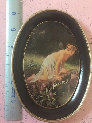 VINTAGE WHITE ROCK FAIRY LADY TIN TIP TRAY BY FABCRAFT Made In USA