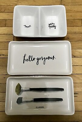 Rae Dunn 3 piece- Makeup Brush Tray, Divided Dish, Hello Gorgeous Tray- NEW