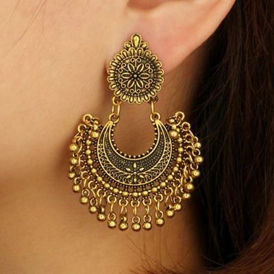 Metal Tassel Jhumka Indian Ethnic Bollywood Dangle Earrings Jewelry Fashion