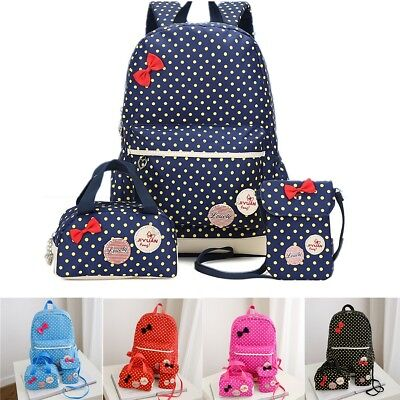 3Pcs Children School Bags Girls Polka Dots School Shoulder Backpack Pencil Case