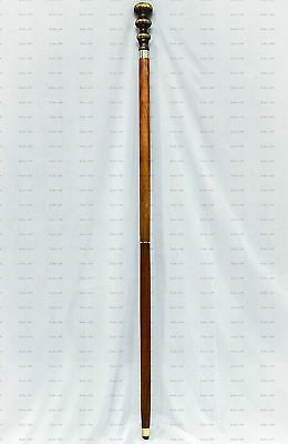 Vintage Solid Brass Wooden Walking Stick With Royal Knob Handle Antique Style