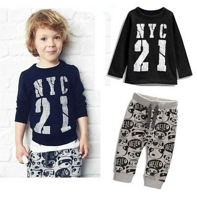 Newborn Baby Boys Girls Tops T-shirt +Pants Outfit Cotton Clothes Sunsuit Set