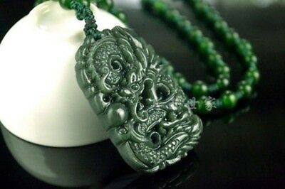 Chinese Natural Green Hand-carved Hetian Jade Pendant -Free Necklace- Dragon