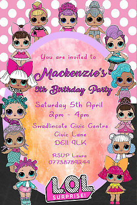 Personalised Lol Surprise Doll Birthday Party Invite Including