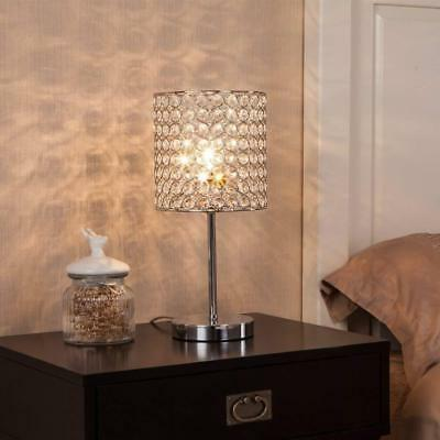 Crystal Table Lamp, Table Lamps with Chrome Crystal Shade for Bedroom