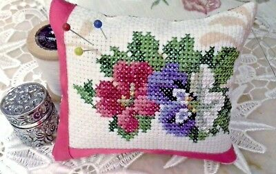 Handmade Completed Cross Stitch Violets Pin Cushion