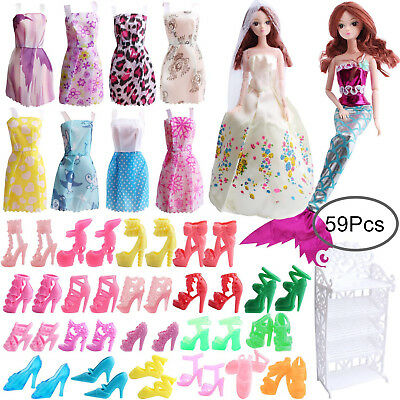 Outee 59 Pcs Doll Clothes Accessories Set for Barbie Dolls Include Doll Shoes
