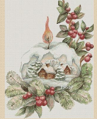 Christmas Cross Stitch Chart - Christmas Snow Globe -No 386.TSG37