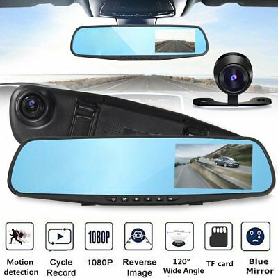"HD 1080P 4"" Car DVR Dual Lens Camera Rear View Mirror Dash Cam Video Recorder XB"