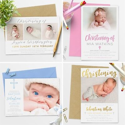 Personalised Photo Christening Baptism Invitations Boy or Girl (G1)