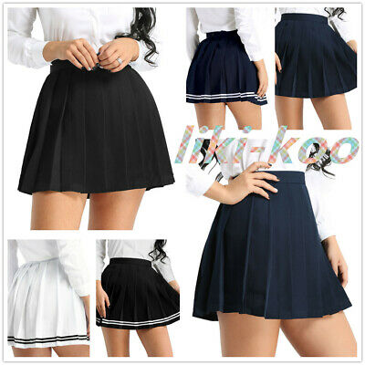 Women School Girls Mini Skirts High Waist Pleated Tennis Skater Dress Cosplay