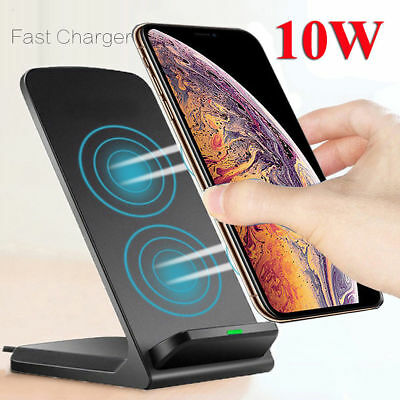 Qi Wireless Charger Fast Charging Stand Dock For iPhone 8 10 Plus X XR XS Max