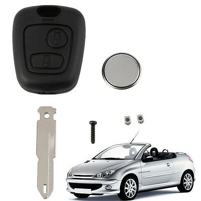 New 2 Button Remote Key Fob Case Shell Blade Cell BatteryFor Peugeot 206 Key KX