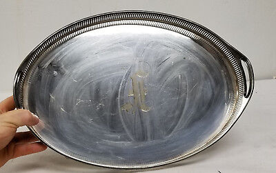 Antique Vintage English Sheffield Silver Style Tray Gallery EPNS Signed