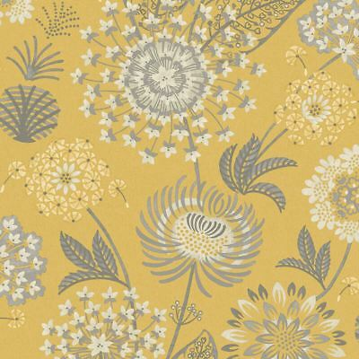 Arthouse Vintage Bloom Floral Wallpaper Retro Flower Mustard Yellow Grey White
