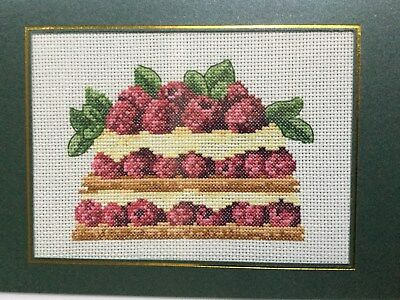 "completed finished cross stitch ""Cake"" card  by 7"