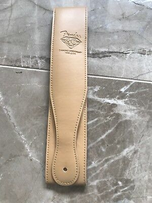 """Fender Logo Thick Light Brown Faux LEATHER Guitar Strap 2.5"""" Wide UK stock"""