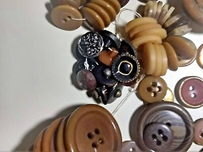 Vintage Button Lot Collection of 100+ BROWN BEIGE TAN Plastic Buttons