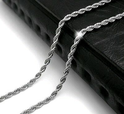 """3mm Silver 316L Titanium Stainless Steel Men Women Rope Chain Necklace 28"""""""