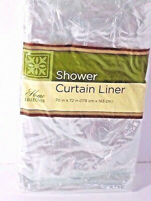 Shower Curtain Clear 70 x 72 Plastic Liner Magnetic Reinforced Hook Holes
