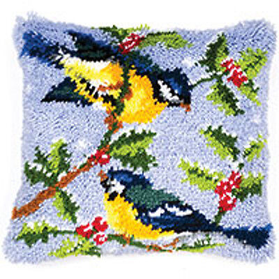 Vervaco Latch Hook  Cushion Kit : Winter Scene Blue Tits - PN0014147