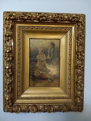 Antique Signed 19th Century Oil On Board Painting In Heavy Gold Golt Frame
