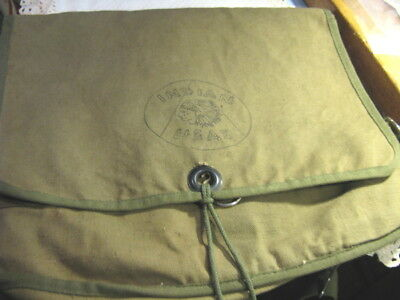 Vtg Green Military Style Canvas Bag Backpack
