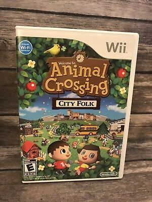 Welcome to Animal Crossing City Folk Nintendo Wii Complete CIB Manual VG