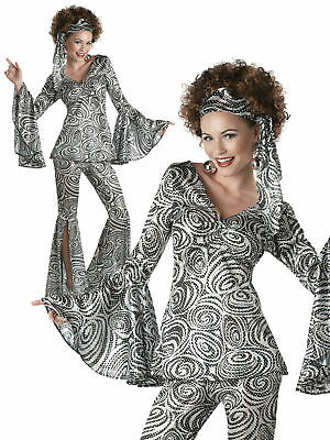 Ladies 60s 70s Foxy Lady Costume Adult Retro Disco Diva Fancy Dress Women Outfit