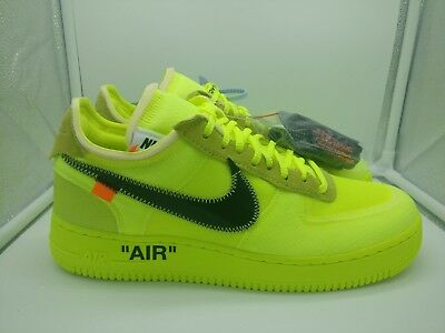 NIKE AIR FORCE 1 Low x Off White UK 7 Volt Yellow Black