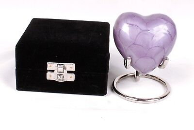 Small heart cremation urn for ashes funeral memorial purple keepsake box stand