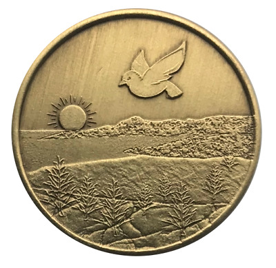 Wendell's Dove Bronze AA Recovery Affirmation Coin Alcoholics Anonymous Token
